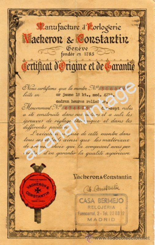 BONITO CERTIFICADO DE AUTENTICIDAD Y GARANTIA DE RELOJ VACHERON & CONSTANTIN, 22 X 15 CM. (Relojes - Relojes Actuales - Vacheron)