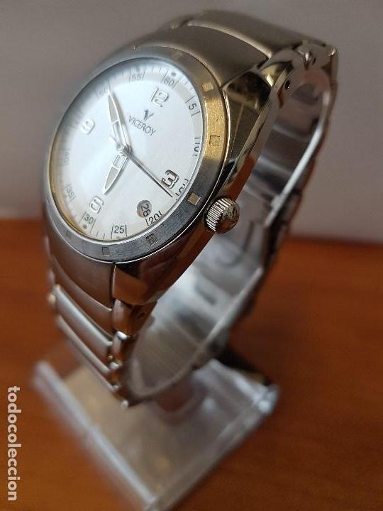Relojes - Viceroy: Reloj caballero cuarzo Viceroy de acero con calendario a las cuatro, correa original de acero - Foto 4 - 122947887