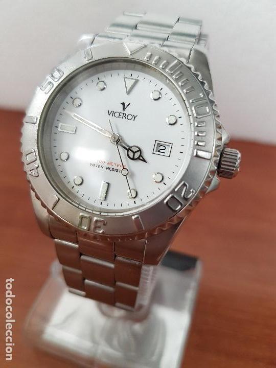 Relojes - Viceroy: Reloj caballero VICEROY de cuarzo con correa de acero original, esfera blanca, bisel giratorio - Foto 3 - 138607466