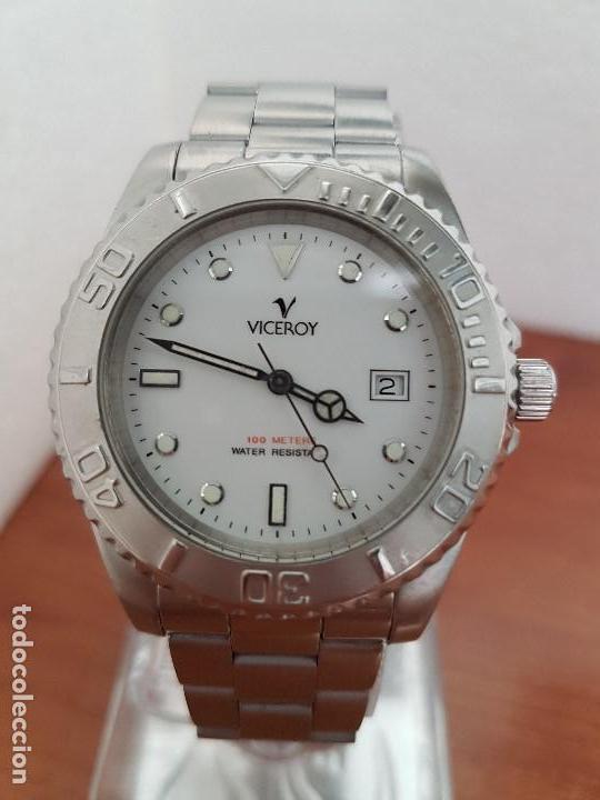 Relojes - Viceroy: Reloj caballero VICEROY de cuarzo con correa de acero original, esfera blanca, bisel giratorio - Foto 5 - 138607466