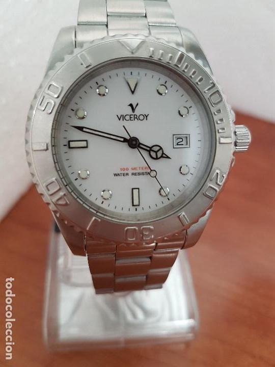 Relojes - Viceroy: Reloj caballero VICEROY de cuarzo con correa de acero original, esfera blanca, bisel giratorio - Foto 8 - 138607466
