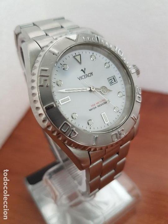 Relojes - Viceroy: Reloj caballero VICEROY de cuarzo con correa de acero original, esfera blanca, bisel giratorio - Foto 16 - 138607466