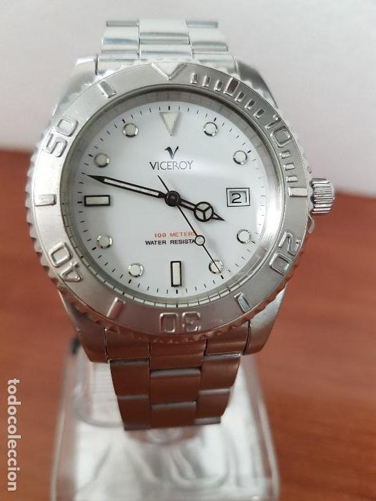 RELOJ CABALLERO VICEROY DE CUARZO CON CORREA DE ACERO ORIGINAL, ESFERA BLANCA, BISEL GIRATORIO (Relojes - Relojes Actuales - Viceroy)