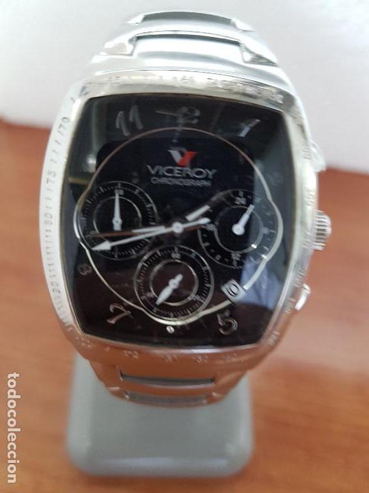 RELOJ CABALLERO ACERO VICEROY CRONOGRAFO CUARZO CON CALENDARIO A LAS CUATRO, CORREA ACERO ORIGINAL (Relojes - Relojes Actuales - Viceroy)