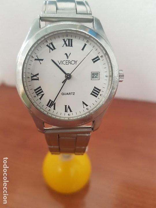 RELOJ CABALLERO CUARZO VICEROY DE ACERO CON CALENDARIO A LAS TRES HORAS, CORREA ACERO, CRISTAL BUENO (Relojes - Relojes Actuales - Viceroy)