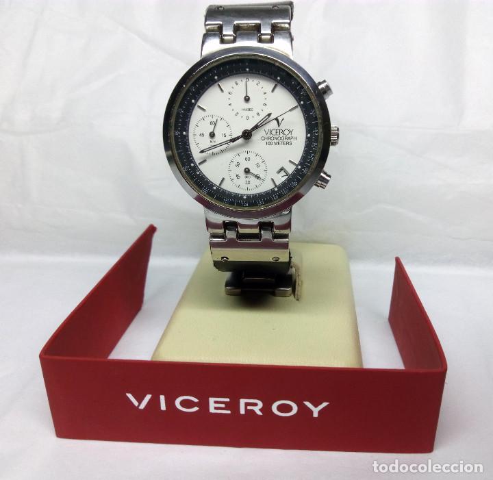 Relojes - Viceroy: RELOJ VICEROY CRONÓGRAFO, CON SU ESTUCHE - CAJA 35 mm - FUNCIONA (REVISAR CRONÓGRAFO) - Foto 4 - 147851290