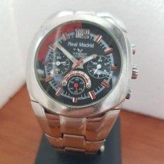 Relojes - Viceroy: RELOJ CABALLERO VICEROY (REAL MADRID) CRONOGRAFO,EN ACERO, ESFERA NEGRA CON CORREA ACERO ORIGINAL . Lote 171098829