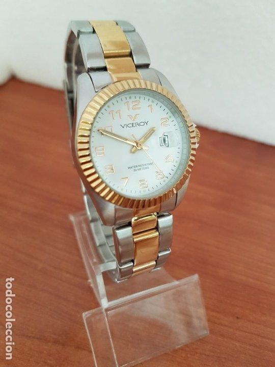 Relojes - Viceroy: Reloj señora de cuarzo VICEROY, acero y chapado de oro, calendario a las tres, correa bicolor - Foto 3 - 178272995