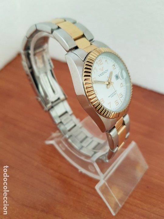 Relojes - Viceroy: Reloj señora de cuarzo VICEROY, acero y chapado de oro, calendario a las tres, correa bicolor - Foto 5 - 178272995