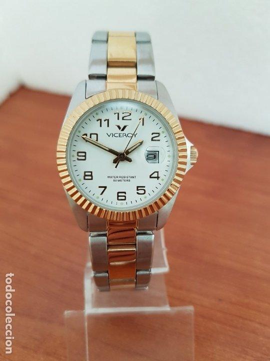 Relojes - Viceroy: Reloj señora de cuarzo VICEROY, acero y chapado de oro, calendario a las tres, correa bicolor - Foto 10 - 178272995