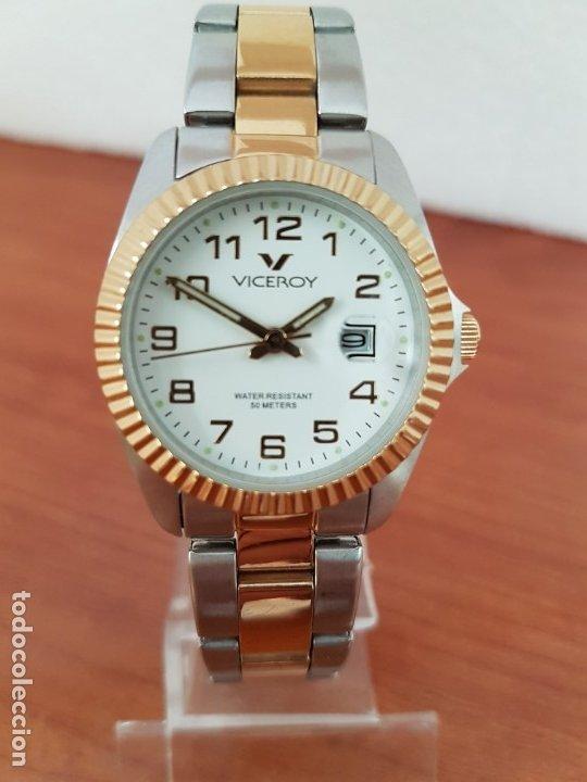 Relojes - Viceroy: Reloj señora de cuarzo VICEROY, acero y chapado de oro, calendario a las tres, correa bicolor - Foto 12 - 178272995