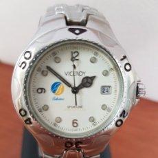 Relojes - Viceroy: RELOJ CABALLERO ACERO VICEROY CUARZO CON CORREA ACERO ORIGINAL Y ANAGRAMA, ESFERA BLANCA CALENDARIO. Lote 178296983