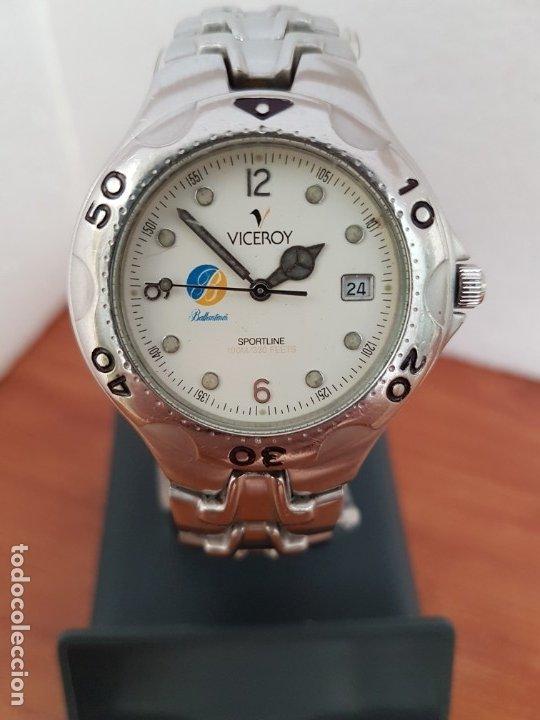 Relojes - Viceroy: Reloj caballero acero VICEROY cuarzo con correa acero original y anagrama, esfera blanca calendario - Foto 9 - 178296983