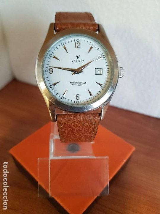 Relojes - Viceroy: Reloj caballero de cuarzo VICEROY en acero con calendario a las tres horas correa de cuero marrón - Foto 2 - 190828107