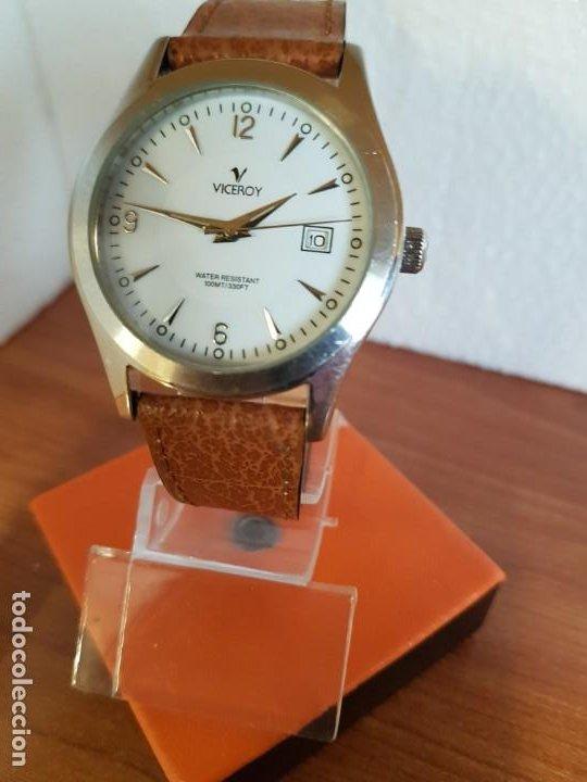 Relojes - Viceroy: Reloj caballero de cuarzo VICEROY en acero con calendario a las tres horas correa de cuero marrón - Foto 4 - 190828107