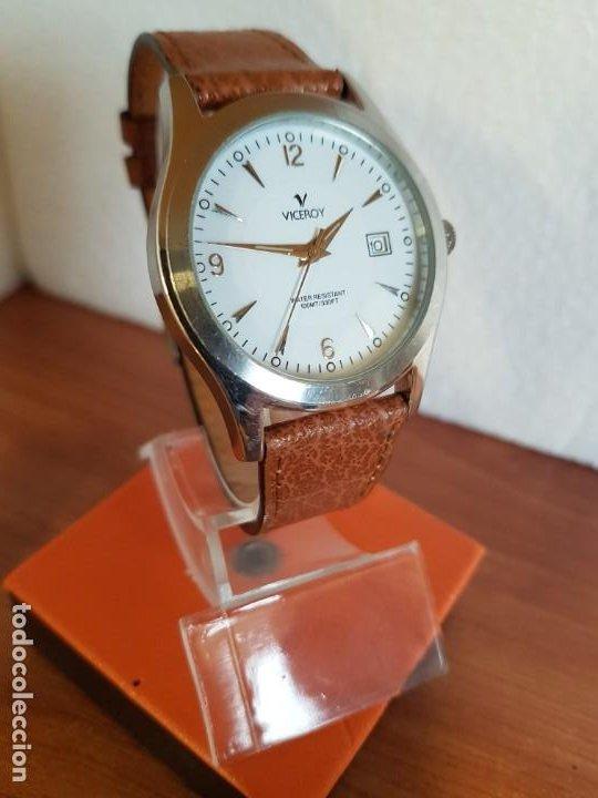 Relojes - Viceroy: Reloj caballero de cuarzo VICEROY en acero con calendario a las tres horas correa de cuero marrón - Foto 5 - 190828107