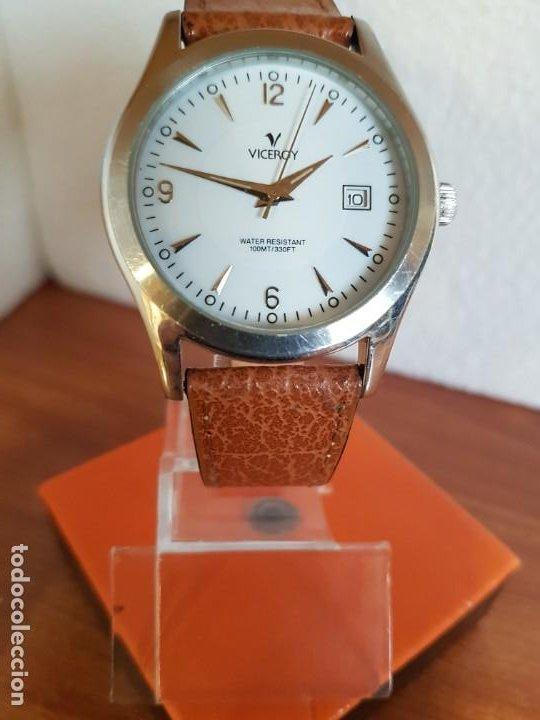 Relojes - Viceroy: Reloj caballero de cuarzo VICEROY en acero con calendario a las tres horas correa de cuero marrón - Foto 9 - 190828107