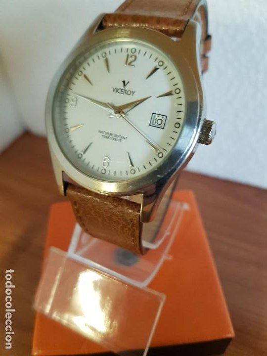 Relojes - Viceroy: Reloj caballero de cuarzo VICEROY en acero con calendario a las tres horas correa de cuero marrón - Foto 11 - 190828107