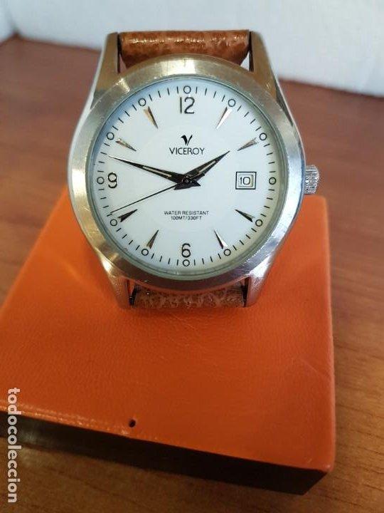 Relojes - Viceroy: Reloj caballero de cuarzo VICEROY en acero con calendario a las tres horas correa de cuero marrón - Foto 12 - 190828107