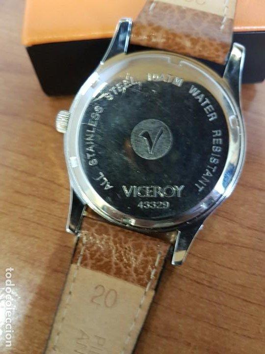 Relojes - Viceroy: Reloj caballero de cuarzo VICEROY en acero con calendario a las tres horas correa de cuero marrón - Foto 16 - 190828107