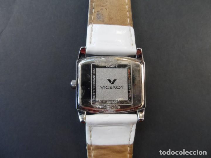 Relojes - Viceroy: RELOJ SEÑORA CORREA CUERO BLANCO EN ACERO BRILLO. VICEROY. QUARTZ. SIGLO XXI - Foto 3 - 191283766