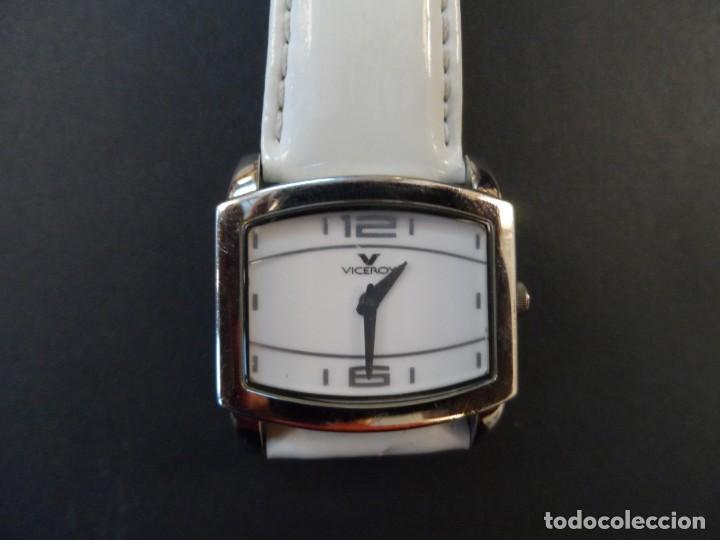 Relojes - Viceroy: RELOJ SEÑORA CORREA CUERO BLANCO EN ACERO BRILLO. VICEROY. QUARTZ. SIGLO XXI - Foto 5 - 191283766