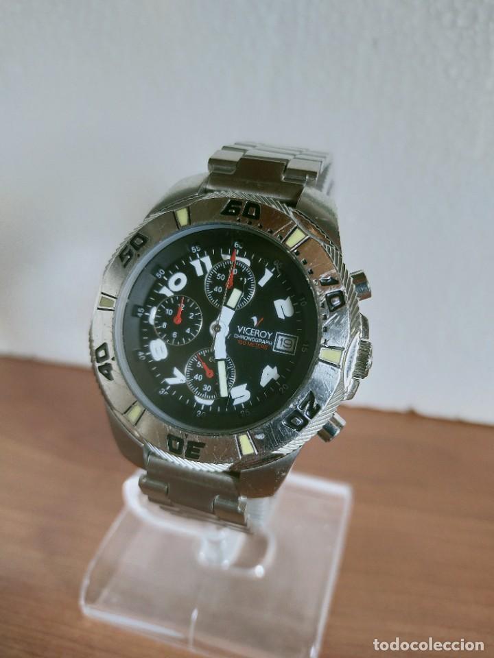 Relojes - Viceroy: Reloj caballero acero VICEROY cronografo cuarzo con calendario a las tres, correa acero no original. - Foto 2 - 213073516