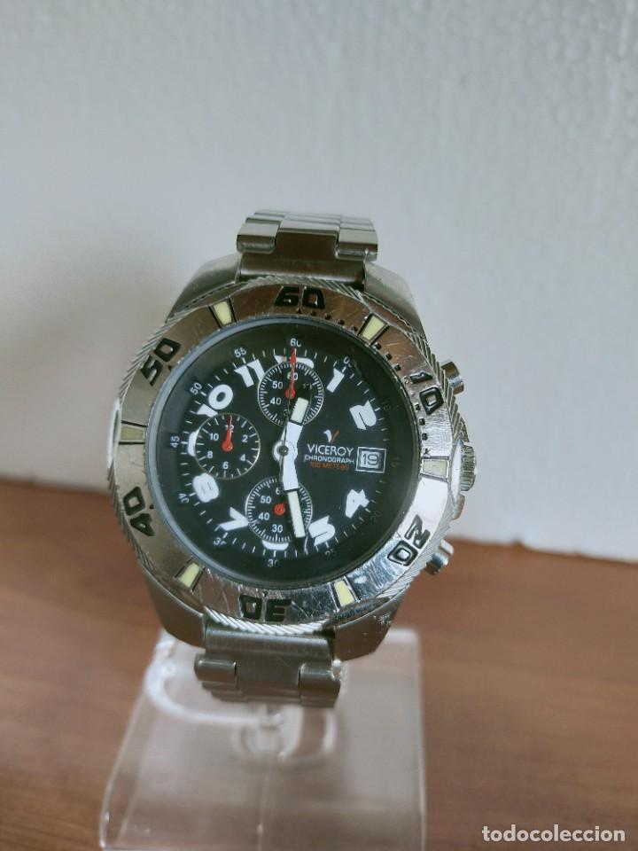 Relojes - Viceroy: Reloj caballero acero VICEROY cronografo cuarzo con calendario a las tres, correa acero no original. - Foto 10 - 213073516