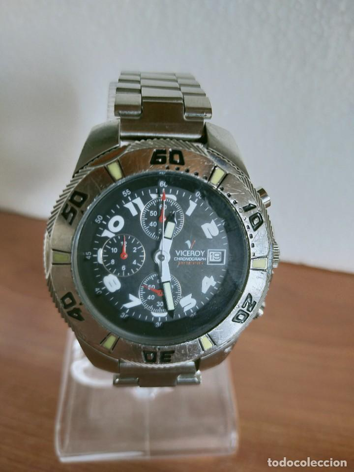 Relojes - Viceroy: Reloj caballero acero VICEROY cronografo cuarzo con calendario a las tres, correa acero no original. - Foto 12 - 213073516