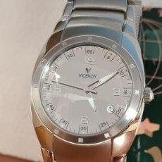 Relojes - Viceroy: RELOJ CABALLERO CUARZO VICEROY ALEJANDRO SANZ ACERO, CALENDARIO CUATRO, CORREA ORIGINAL DE ACERO.. Lote 243387960