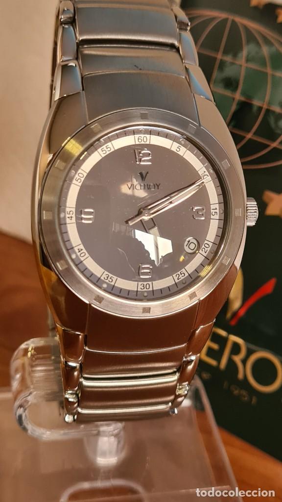 Relojes - Viceroy: Reloj caballero cuarzo Viceroy Alejandro Sanz acero, calendario cuatro, correa original de acero. - Foto 8 - 243387960