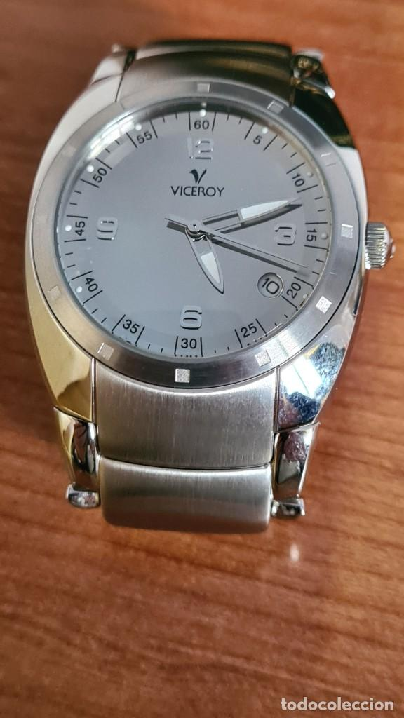 Relojes - Viceroy: Reloj caballero cuarzo Viceroy Alejandro Sanz acero, calendario cuatro, correa original de acero. - Foto 9 - 243387960