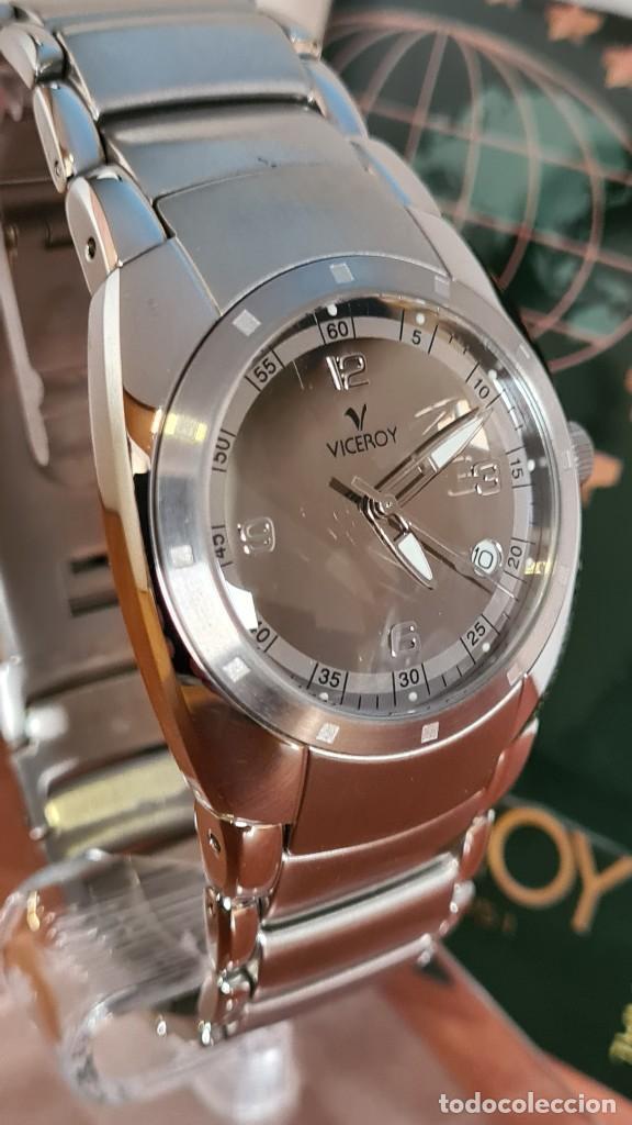 Relojes - Viceroy: Reloj caballero cuarzo Viceroy Alejandro Sanz acero, calendario cuatro, correa original de acero. - Foto 11 - 243387960