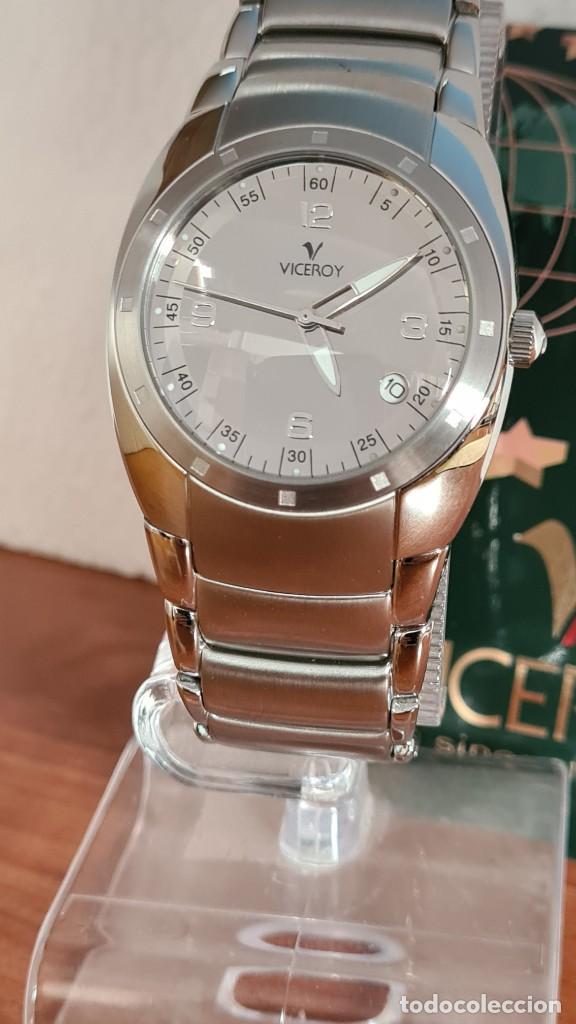 Relojes - Viceroy: Reloj caballero cuarzo Viceroy Alejandro Sanz acero, calendario cuatro, correa original de acero. - Foto 12 - 243387960