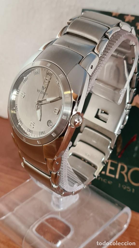 Relojes - Viceroy: Reloj caballero cuarzo Viceroy Alejandro Sanz acero, calendario cuatro, correa original de acero. - Foto 14 - 243387960