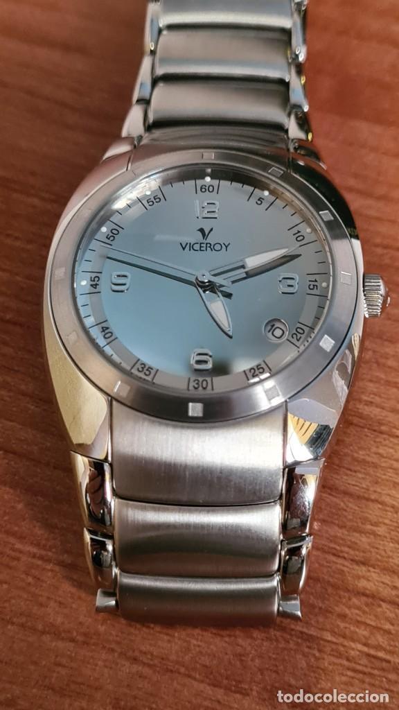 Relojes - Viceroy: Reloj caballero cuarzo Viceroy Alejandro Sanz acero, calendario cuatro, correa original de acero. - Foto 18 - 243387960