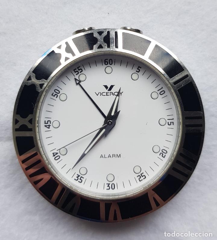 VICEROY ALARM 46710 FUNCIONANDO SOBREMESA DESPERTADOR PILA NUEVA 46MM BISEL NEGRO (Relojes - Relojes Actuales - Viceroy)