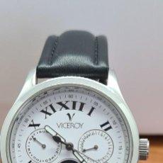 Relojes - Viceroy: RELOJ CABALLERO DE CUARZO VICEROY EN ACERO MULTIFUNCIÓN, ESFERA BLANCA CON FASE LUNAR, CORREA NEGRA.. Lote 279456963
