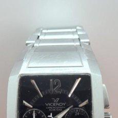 Relojes - Viceroy: RELOJ CUARZO VICEROY ACERO DE CUARZO, ESFERA NEGRA, CRONOGRAFO, CON CORREA DE ACERO ORIGINAL VICEROY. Lote 291863268
