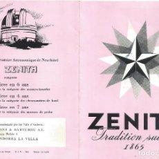 Relógios - Zenith: RELOJ ZENITH FOLLETO CATALOGO DESPLEGABLE 1954 PONS & BARTOMEU ANDORRA LA VELLA. Lote 114514511