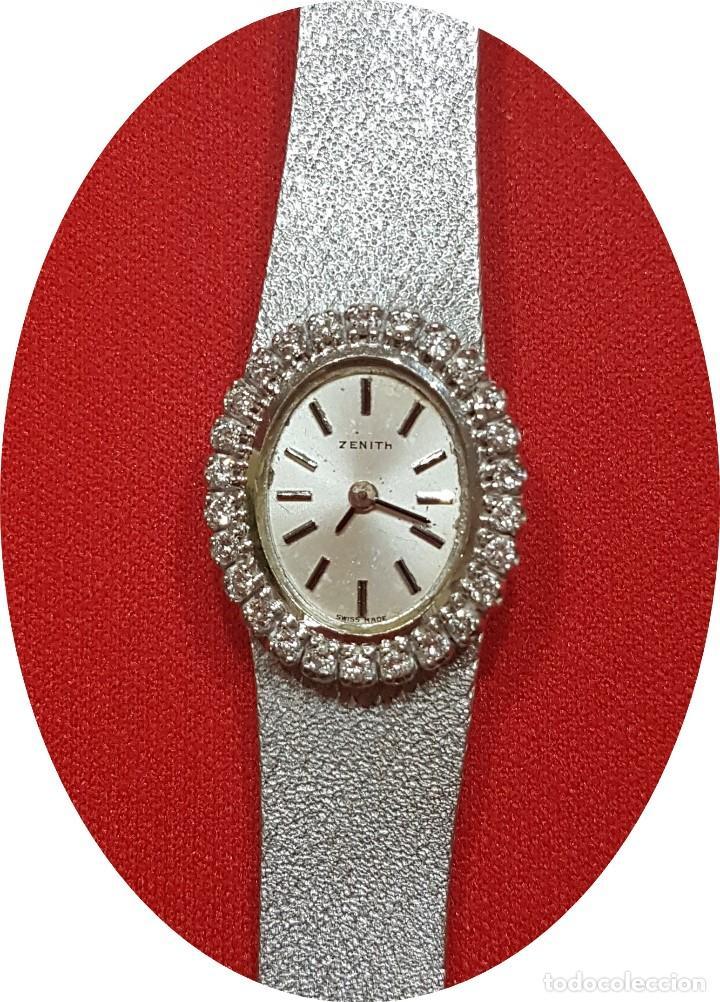 Relojes - Zenith: Antiguo reloj de pulsera para mujer, Zenith, oro y brillantes, joya de los años 50 - Foto 2 - 132570982