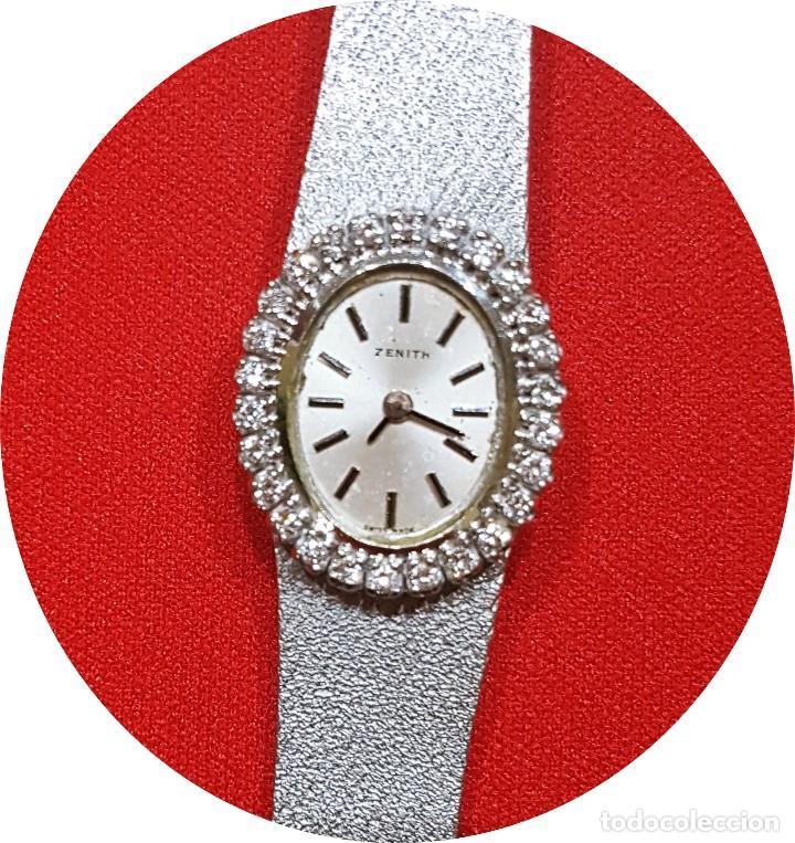 Relojes - Zenith: Antiguo reloj de pulsera para mujer, Zenith, oro y brillantes, joya de los años 50 - Foto 3 - 132570982