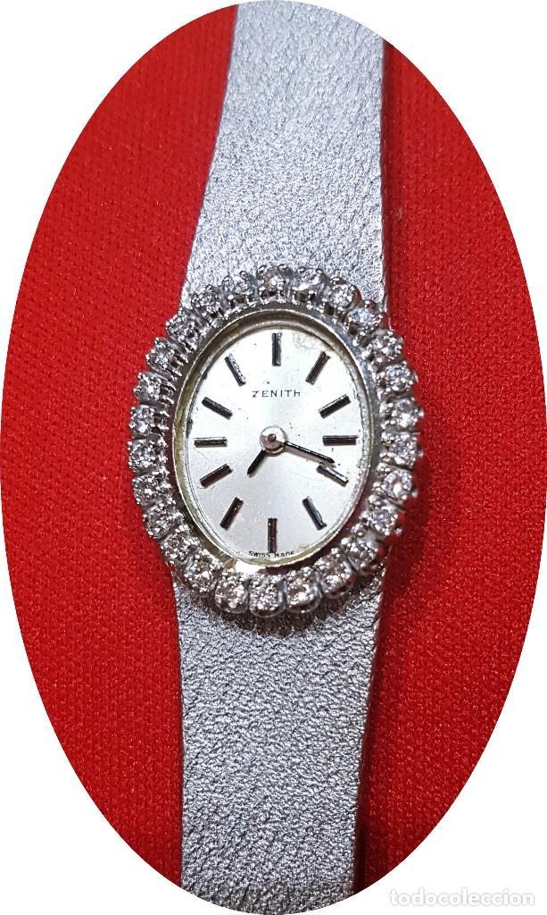 Relojes - Zenith: Antiguo reloj de pulsera para mujer, Zenith, oro y brillantes, joya de los años 50 - Foto 4 - 132570982
