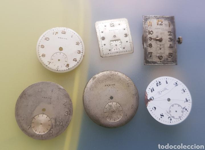 LOTE DE PIEZAS ZENITH ESFERAS Y UNA MAQUINA VER FOTOS ANTIGUAS (Relojes - Relojes Actuales - Zenith)