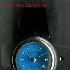 Relojes: BONITO RELOJ DE PULSERA MARCA NINE WEST, DE ACERO INOXIDABLE. ESFERA REDONDA GRANDE AZUL TURQUESA. C. Lote 23750820