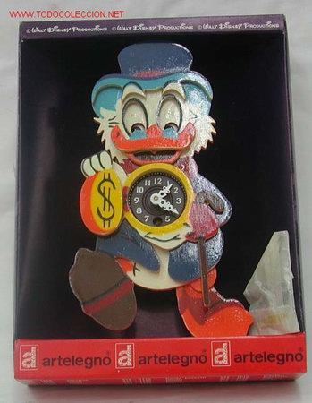 Relojes: Reloj infantil tío Gilito Walt Disney Artelegno madera pintada a cuerda Made in Italy años 70 nuevo - Foto 2 - 213246253