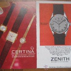 Relojes: RELOJES. 12 HOJAS PUBLICIDAD AÑOS 50 - 60. ZENITH, FESTINA, ZODIAC, LONGINES, CERTINA, LEONIDAS ETC.. Lote 22789528