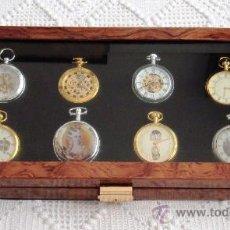 Relojes: RELOJES DE ÉPOCA, COLECCIÓN DE 8 RELOJES DE BOLSILLO BAÑADOS EN ORO Y PLATA DE LEY. Lote 26877419