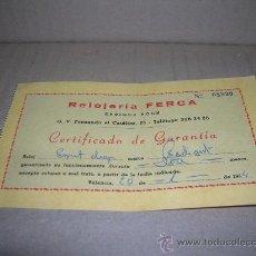 Relojes: CERTIFICADO DE GARANTIA RELOJ RADIANT COMPRADO EN RELOJERIA FERCA AÑO 1984. MIDE 13,5 X 8 CM., VER.. Lote 26412253