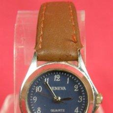 Relojes: RELOJ QUARTZ DE SEÑORA MARCA GENEVA ESFERA AZUL Y CORREA DE CUERO 1,8 CM ESFERA. Lote 31957290